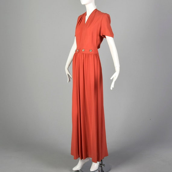 Small 1940s Rayon Dress in Pink Vintage Rayon Gow… - image 2