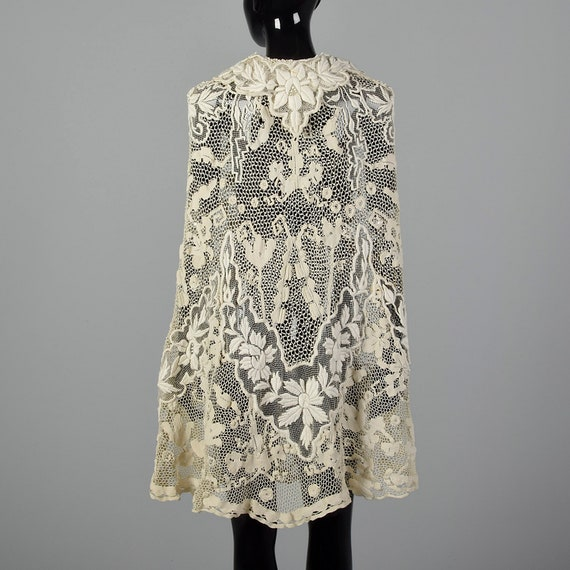 1910s Antique Lace Cape Belle Epoque Sheer Wrap We