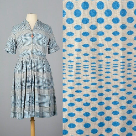 Zip 3XL Front Plus Art 50s Sleeves Dress Dot Size Day Dress Op Casual Short Volup Print Day Cotton Wear Vintage 1950s PrqwBP