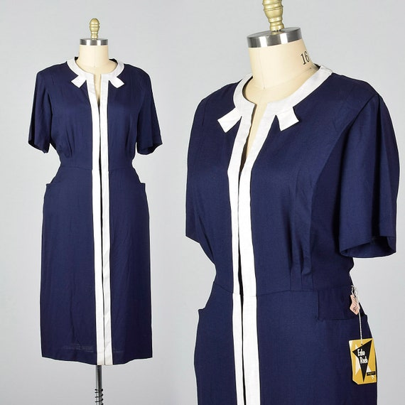 3XL 1950s Dress Deadstock Navy Day Dress White Tri