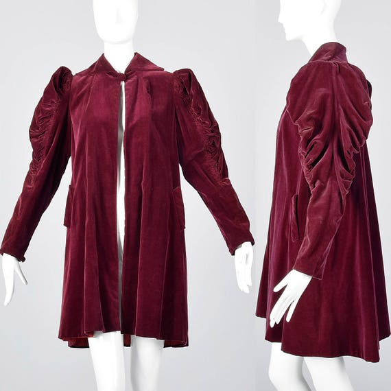 X-Small 1940s Coat Burgundy Velvet Coat Mutton Sle