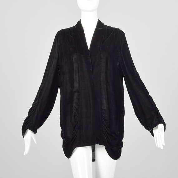 Medium 1920s Velvet Cardigan Vintage Black Velvet