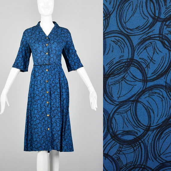 Large 1960s Blue Day Dress Geometric Print Rockabi