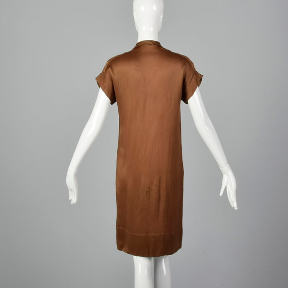 XXS 1920s Brown Silk Dress Mother of Pearl Button… - image 2