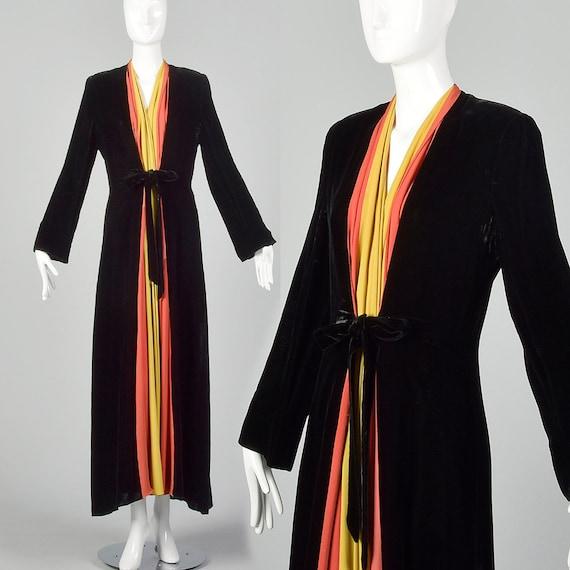 1940s Dressing Gown Velvet Color Block Robe Vintag