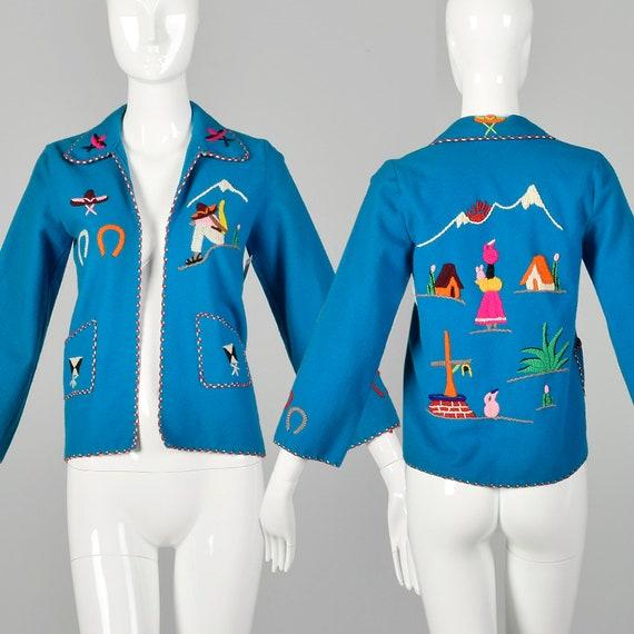 XXS 1950s Jacket Teal Blue Mexican Souvenir Touris