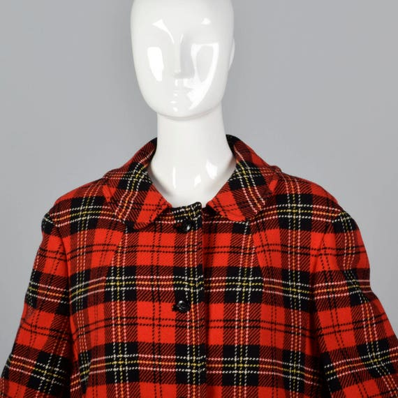 Vintage Winter Long Pendleton Plaid 1950s Outerwear Sleeve Large Red Red Wool Coat Tartan Fall 50s Plaid Bright Coat c6qfUBTw