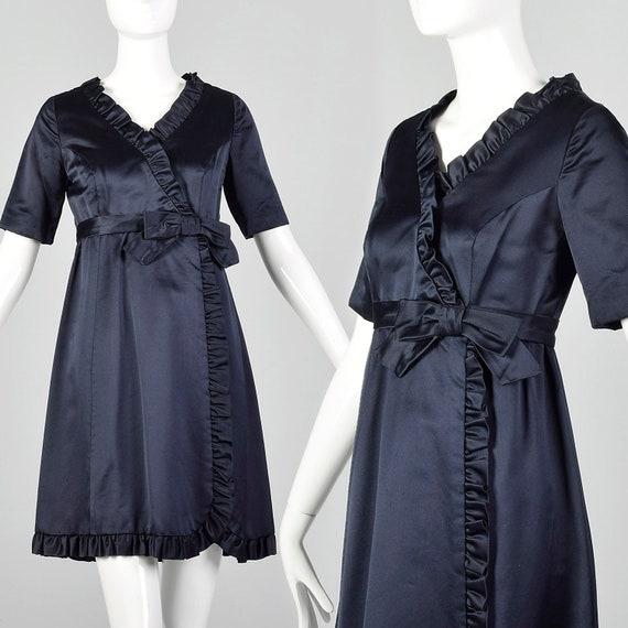 Medium 1960s Blue Satin Dress Vintage Faux Wrap Dr