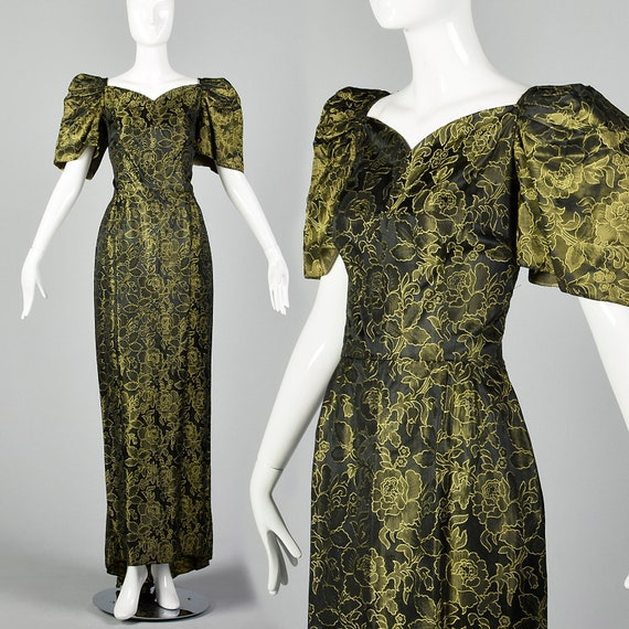 Small 1940s Damask Gown Vintage Puff Sleeve Gown S