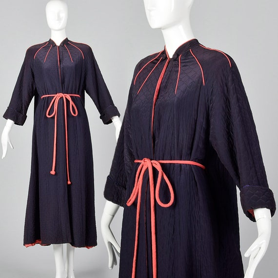 82aca5a451 Medium 1950s Robe Navy Quilted Dressing Gown Hot Pink Trim