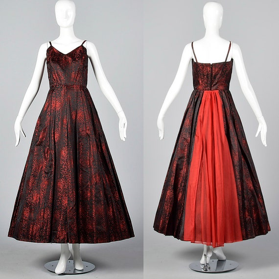 XS 1950s Gown Formal Evening Dress Prom Black Red