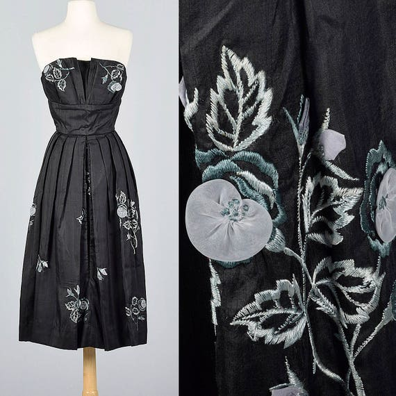 Party Embroidery Hidden Dress Vintage Evening Small Cocktail Floral Silk 1950s Dress Strapless Wear 50s Front Panel wqTxx0PBYn