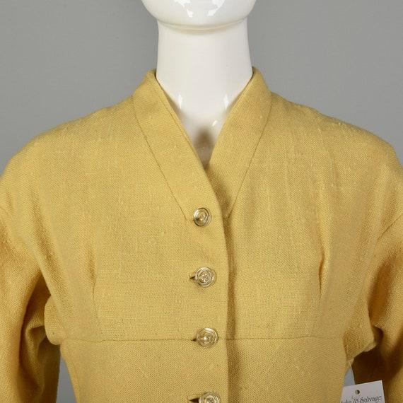 Small 1950s Princess Coat Yellow Wool Spring Rock… - image 7