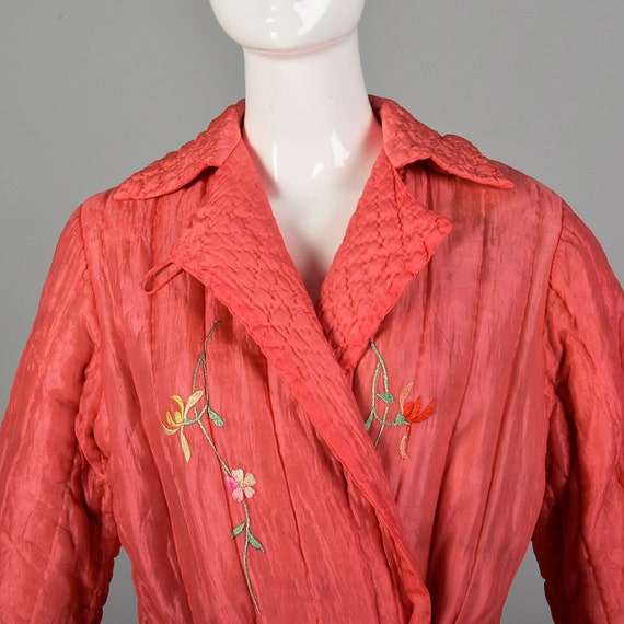 Medium 1930s Pink Robe Quilted Asian Inspired Sil… - image 3