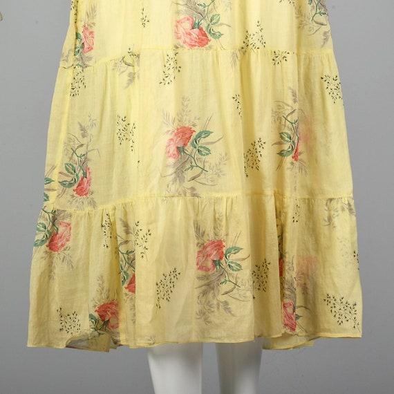 XXS 1930s Dress Sheer Yellow Day Dress Large Rose… - image 9