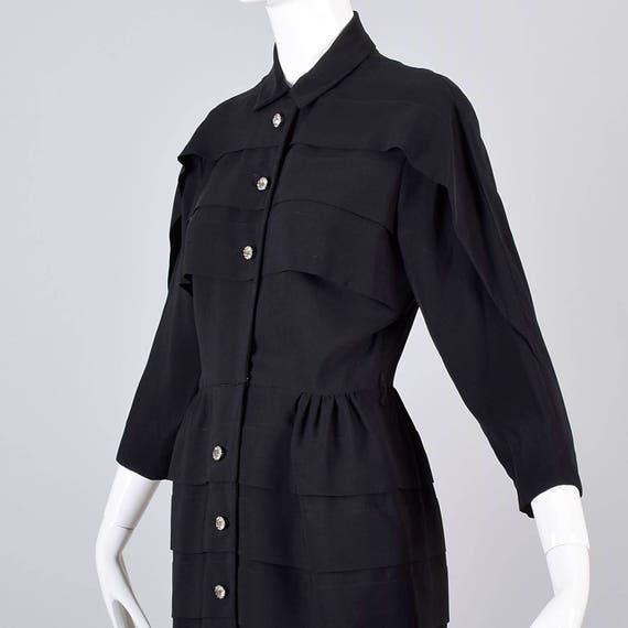 Waist Mid Dress Party Rhinestone 50s Black Dress Dress Buttons Evening Wasp Dress Dress Dress 50s XS Little Century 1950s Hourglass gwYvqw6S