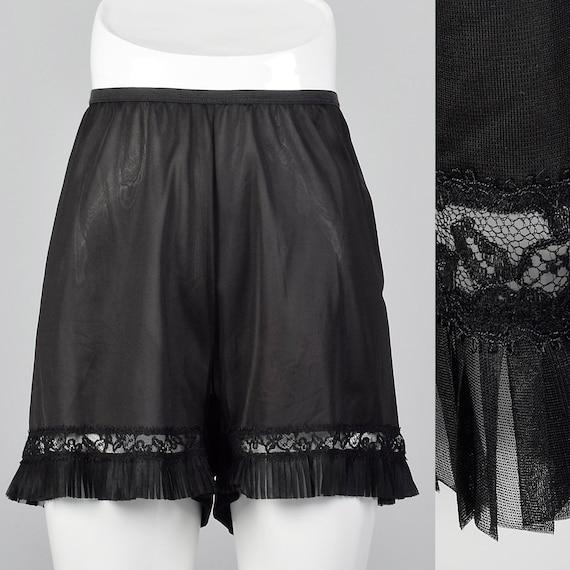 Petit des années 1950 en Nylon noir Slip Short Pettipants défaites robinet pantalon cristal plis dentelle garniture Lingerie des années 50 Vintage