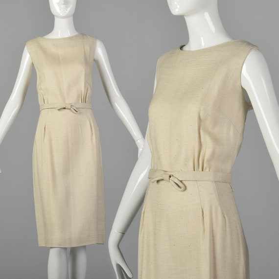 Large 1960s Linen Day Dress Sleeveless Summer Dres