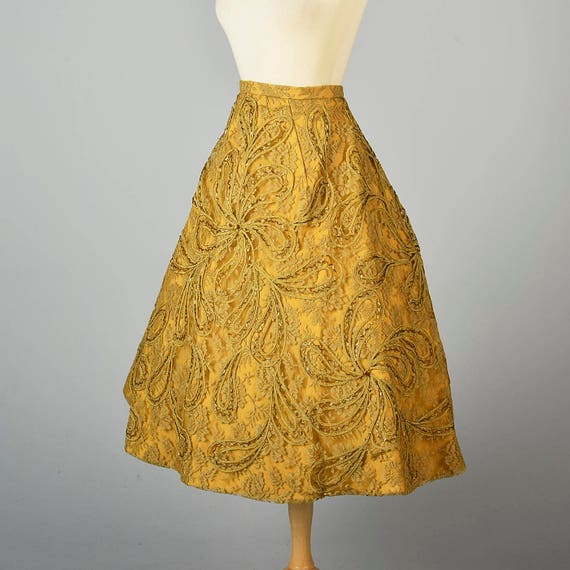 Paisley Mid Wear Small Beaded Evening Century Lace Deadstock 1950s Separates 50s Skirt Applique Vintage Formal Skirt ww8HqT
