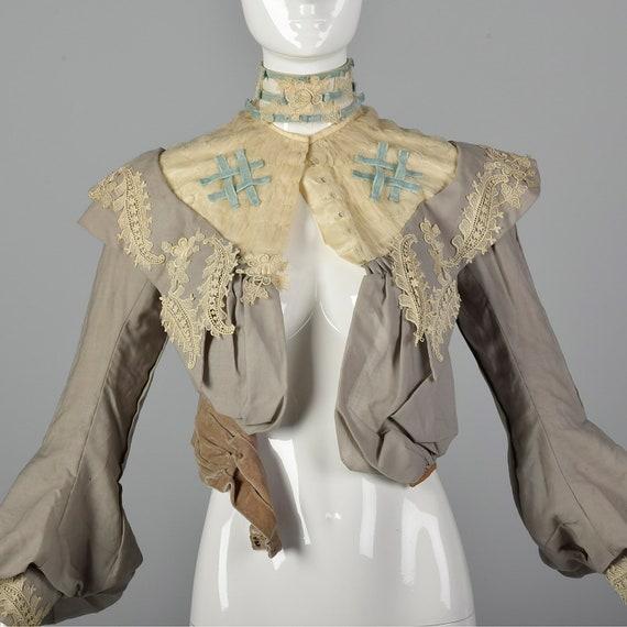 XXS 1890s Wool Challis Bodice Victorian Bodice wi… - image 1
