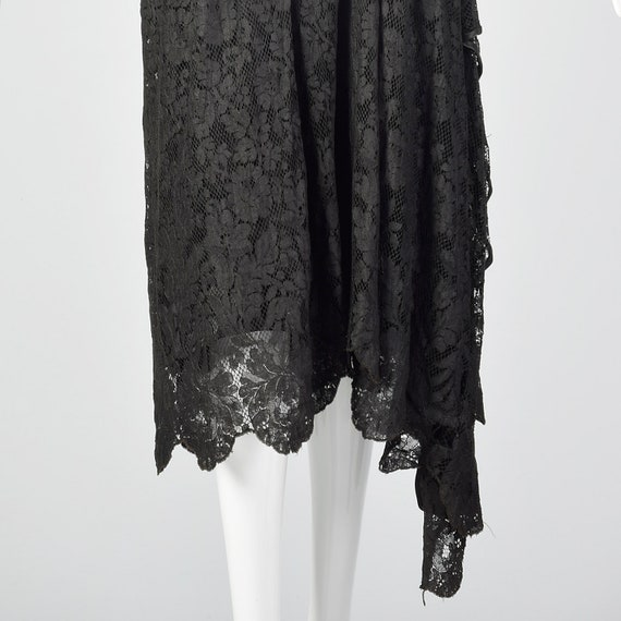 1920s Black Lace Dress Hip Sash and Bell Sleeves … - image 8