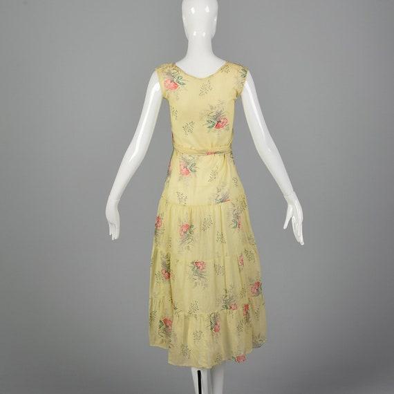 XXS 1930s Dress Sheer Yellow Day Dress Large Rose… - image 2