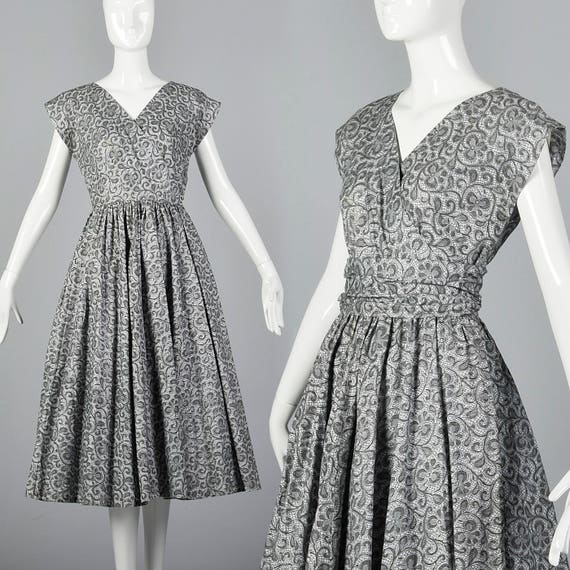 Short Dress Skirt 1950s Casual Spring 50s Sleeve Summer Lace Dress Small Up Pin Print Lightweight Vintage Gray Cotton Full qIw7X6