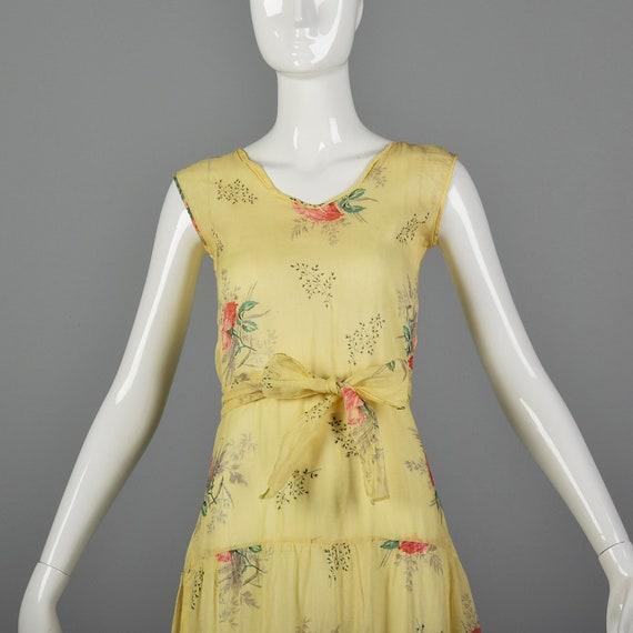 XXS 1930s Dress Sheer Yellow Day Dress Large Rose… - image 5