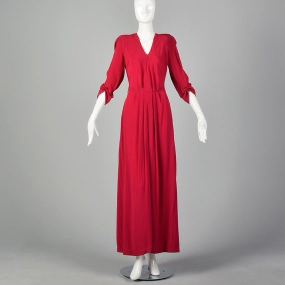 Small 1940s Raspberry Pink Rayon Evening Gown Elbo
