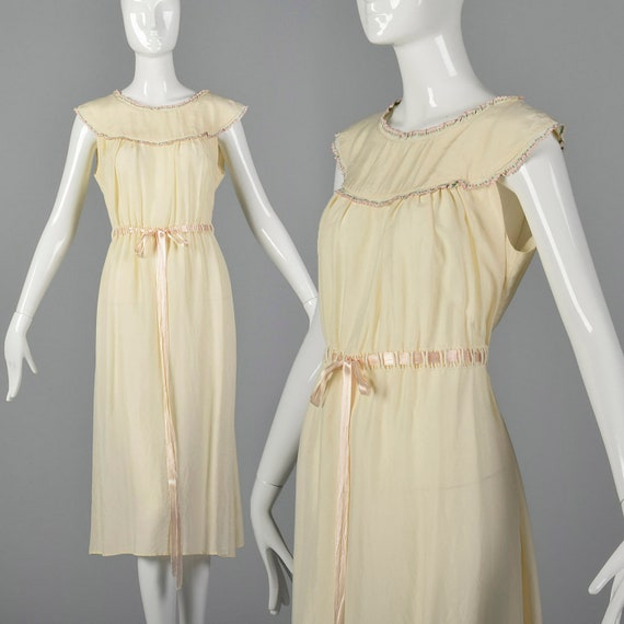 1930s Silk Nightgown Drawstring Ribbon Waist Cream
