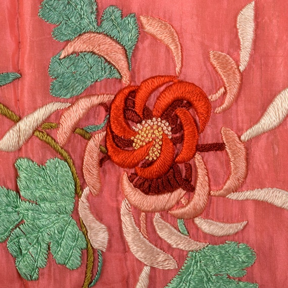 Medium 1930s Pink Robe Quilted Asian Inspired Sil… - image 8