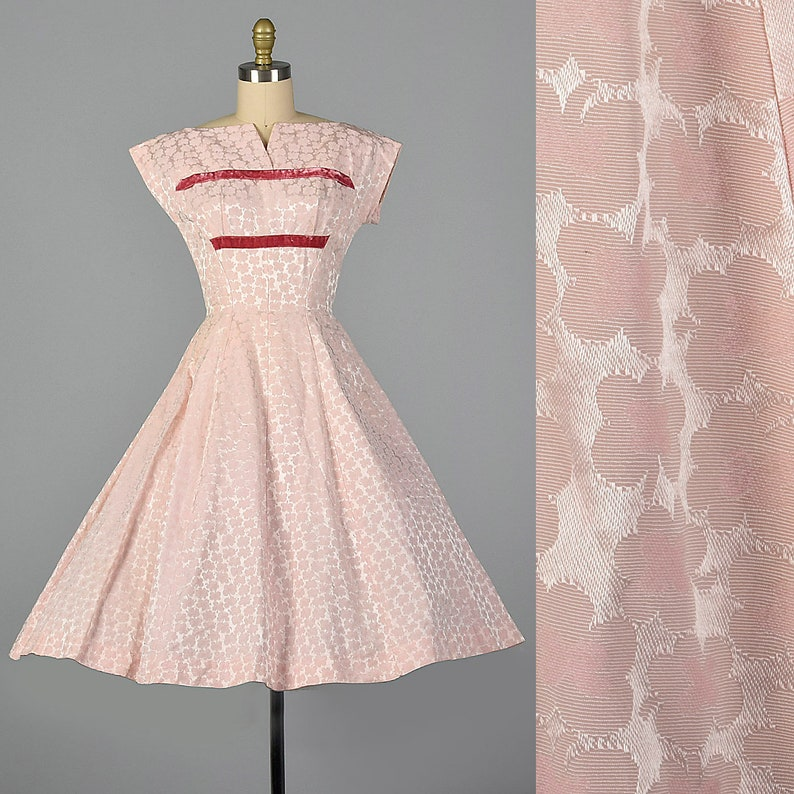 0bedc5fb2de XS 1950s Dress Pink Fit and Flare Party Dress Pink Floral
