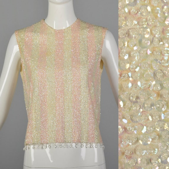 Small 1960s Pink Striped Sequin Blouse Vintage Bea