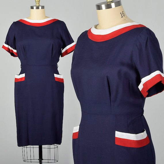 XXL 1950s Red White and Blue Dress Volup Dress Vintage Plus Size Dress 50s  Sheath Dress Navy Blue Day Dress