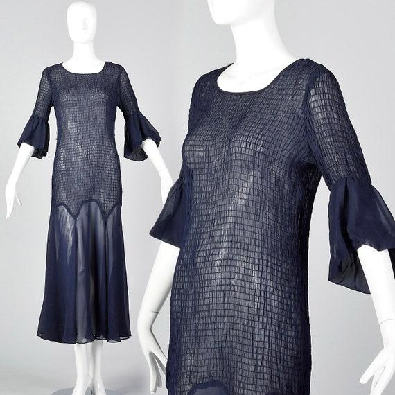 XS 1930s Sheer Navy Blue Dress Smocked Day Dress S