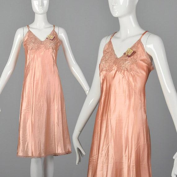 Medium 1940s Deadstock Pink Rayon Slip Silky Full
