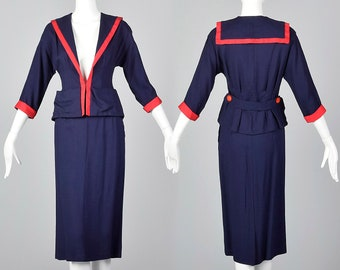 XS 1950s Navy Sailor Style Skirt Suit Nautical Summer Suit Fitted Jacket Pencil Skirt Casual Spring Summer 50s Vintage