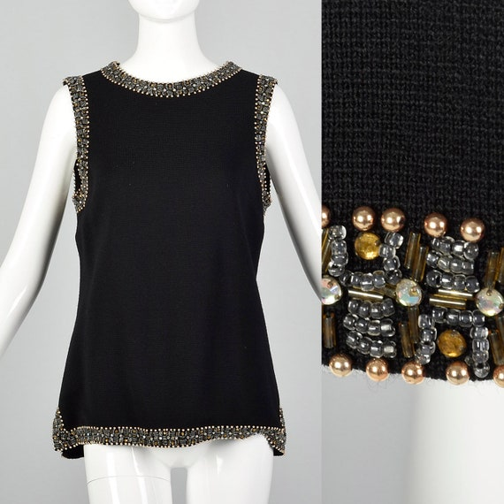 Medium 1960s Black Knit Tunic Top Sleeveless Blous