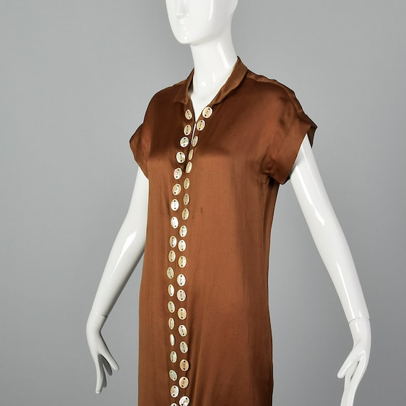 XXS 1920s Brown Silk Dress Mother of Pearl Button… - image 5