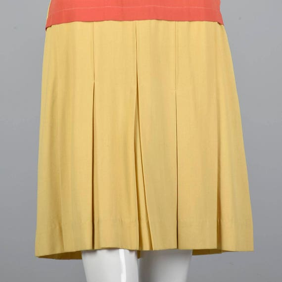 Pink 30s Skirt Yellow Purple Day Waist 1930s Dropped Vintage Dress Stripe Stripe Pleated Rayon Dress Dress XS q7R6dq