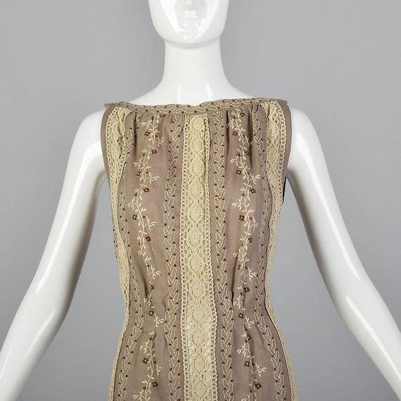 XS 1960s Moygashel Irish Linen Dress Sleeveless P… - image 4