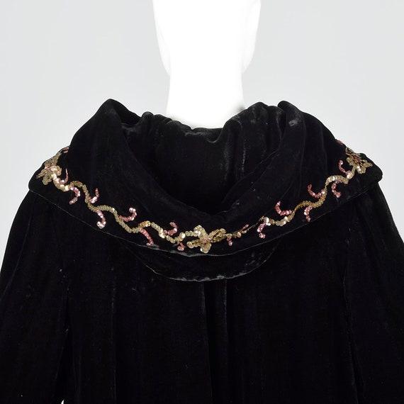 1940s Hooded Coat Loose Autumn Coat Sequin Hood B… - image 9