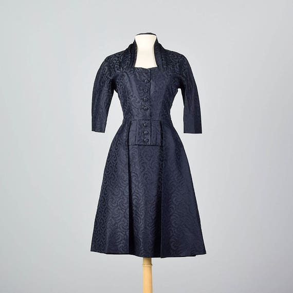 1950s Pierre Balmain Silk Damask Cocktail Dress wi