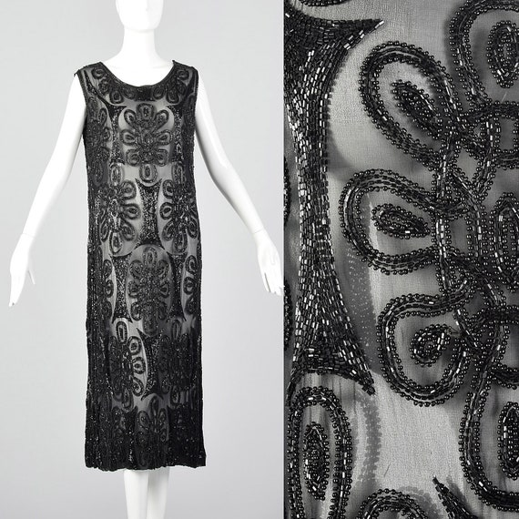 1920s Dress Black Silk Beaded Evening Dress Sheer