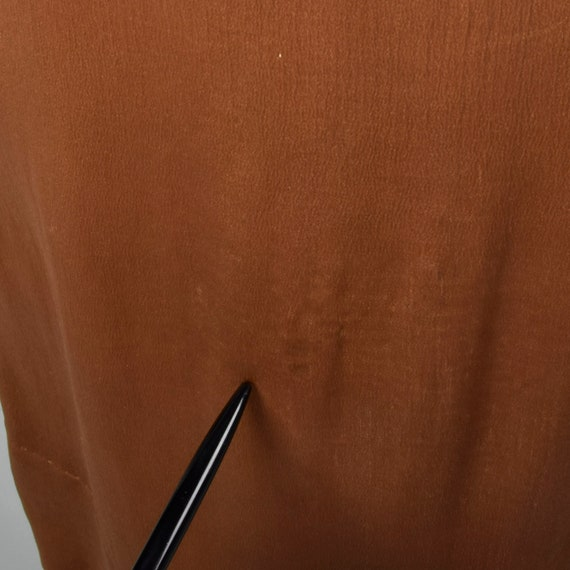 XXS 1920s Brown Silk Dress Mother of Pearl Button… - image 8