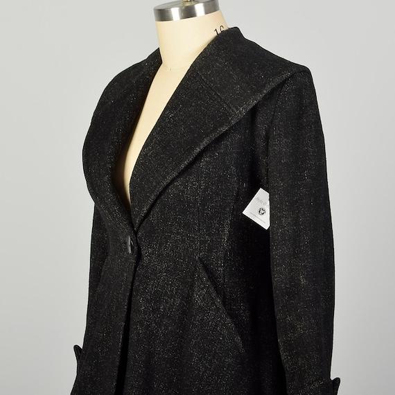 Large 1950s Coat Grey Princess Fit & Flare Wool S… - image 6