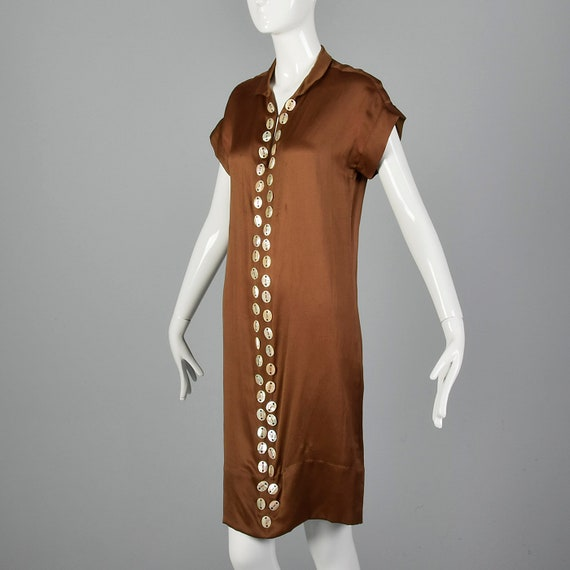 XXS 1920s Brown Silk Dress Mother of Pearl Button… - image 3