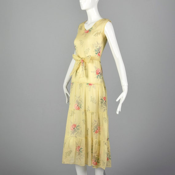 XXS 1930s Dress Sheer Yellow Day Dress Large Rose… - image 3