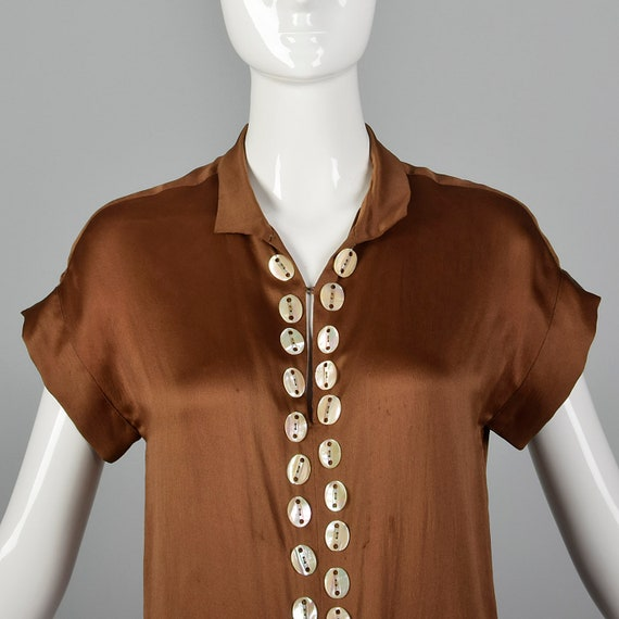 XXS 1920s Brown Silk Dress Mother of Pearl Button… - image 4