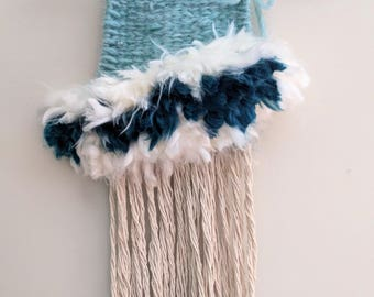 Mini wall weaving | Woven Tapestry | Woven wall hanging | Textile Art | Fiber Art | Hostess Gift | Blue Turquoise | Shabby Chic